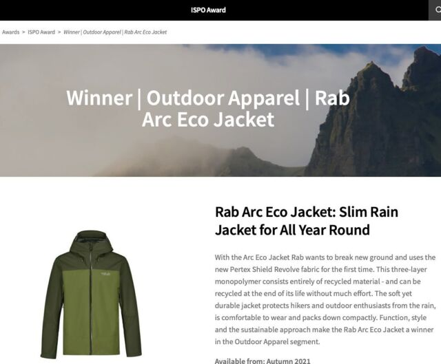 Hipp hipp... 🥳 Rabs nya supergröna ARC Jacket winner ISPO AWARD. I butik fw21. 🍾